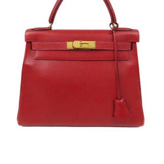 Hermes Red Leather Courchevel Kelly 28