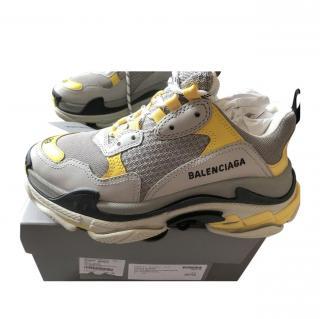 Balenciaga yellow and white triple S trainers