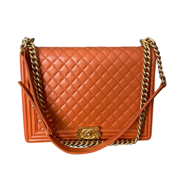 Chanel Ginger Quilted Leather Large Boy Bag