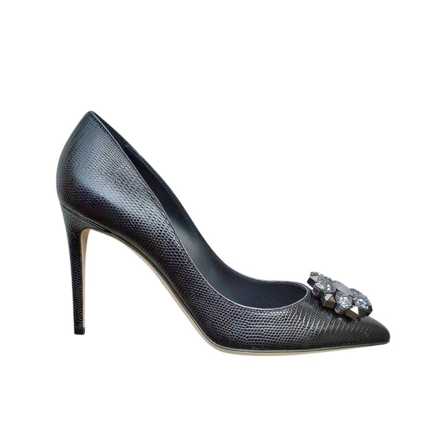 Dolce & Gabbana rhinestone embossed black pumps
