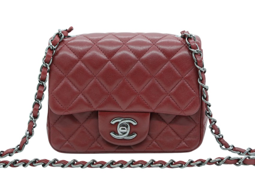 Chanel Dark Red Quilted Leather Square Mini Flap