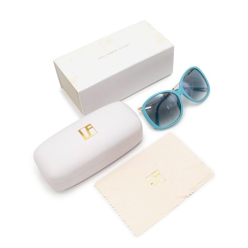 Linda Farrow x Prabal Gurung Sky Blue & Gold Oversized Sunglasses