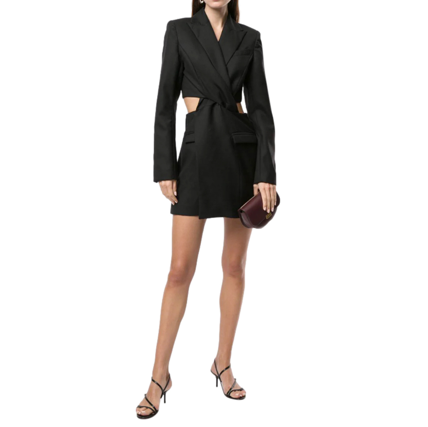 Anna Quan Chiara Black Cutout Wool Mini Dress