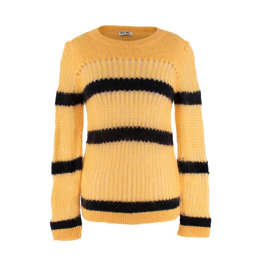 Miu Miu Striped Yellow & Black Mohair Open Knit Sweater