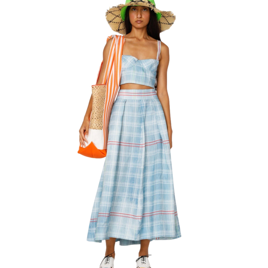 Rosie Assoulin Pale Blue & Red Check Linen Pleated Skirt