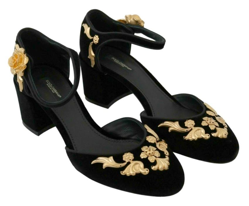 Dolce & Gabbana Black & Gold Ankle Strap Pumps