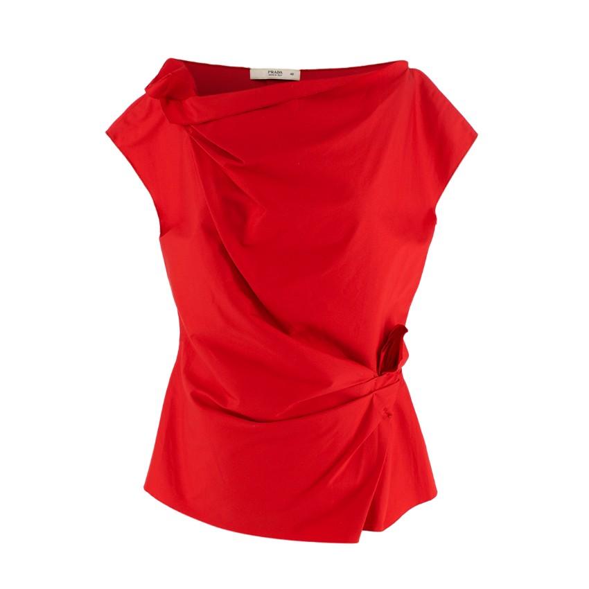 Prada Red Structured Cotton Blend Gathered Waist Top