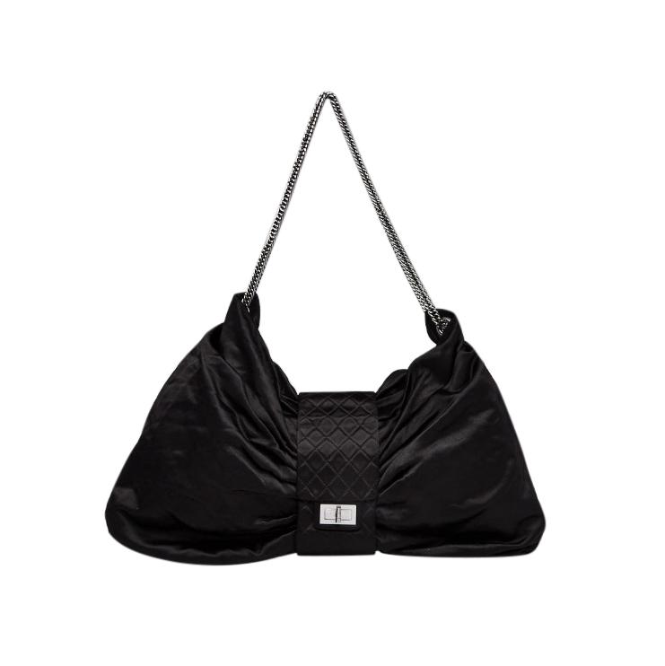 Chanel Black Satin Jumbo Bow Chain Shoulder Bag