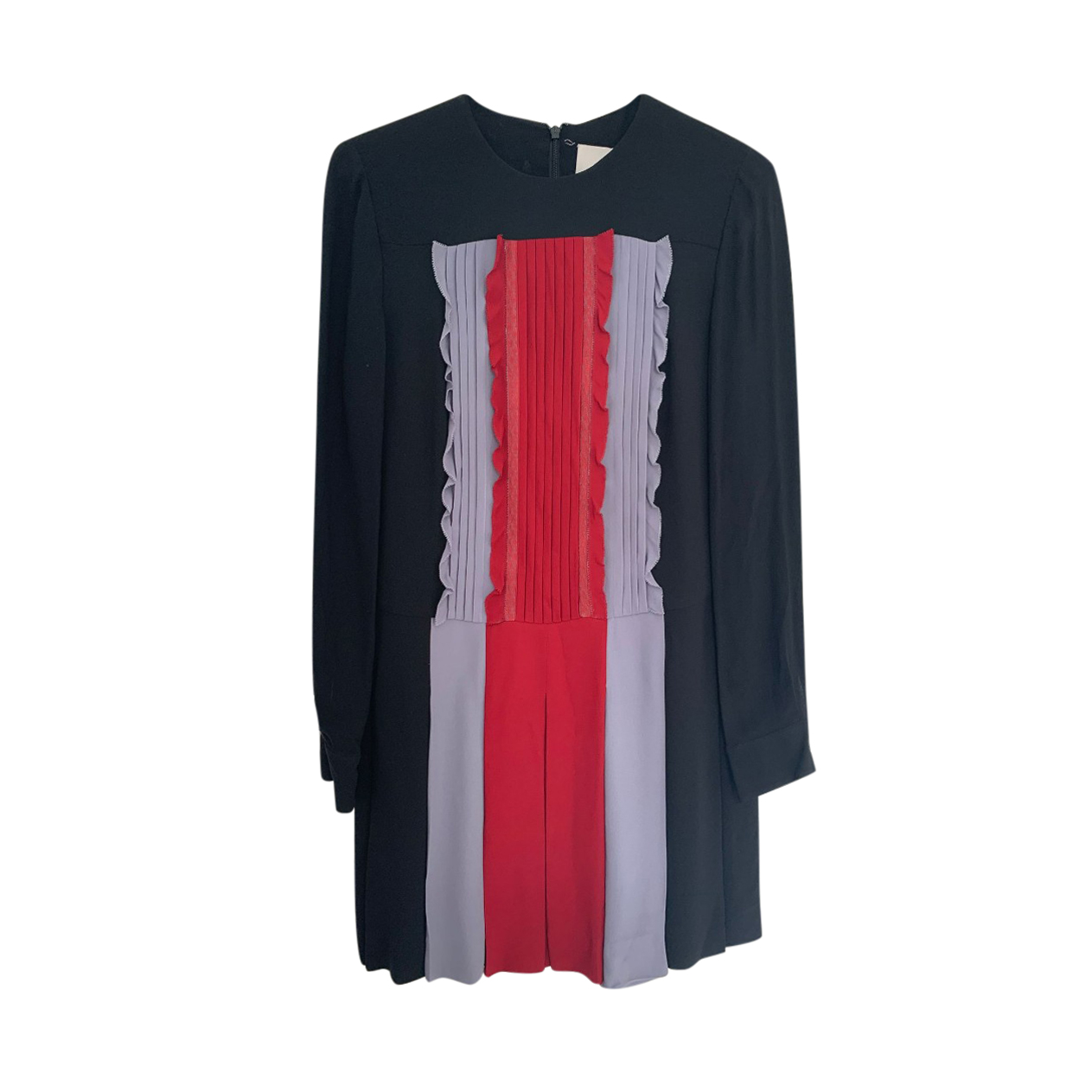 Valentino Tri-Colour Pleated Ruffle Placket Dress