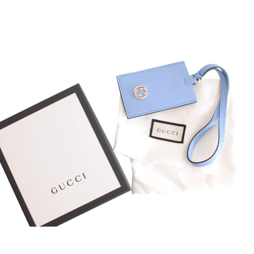 Gucci Pale Blue Leather GG Luggage Tag