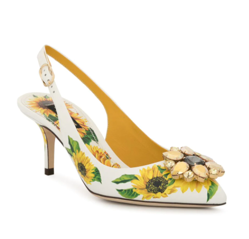 Dolce & Gabbana Crystal Embellished Sunflower Print Slingback Sandals