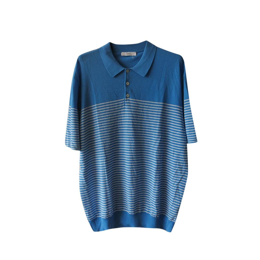 Mr Porter Blue Striped Cotton Polo Shirt