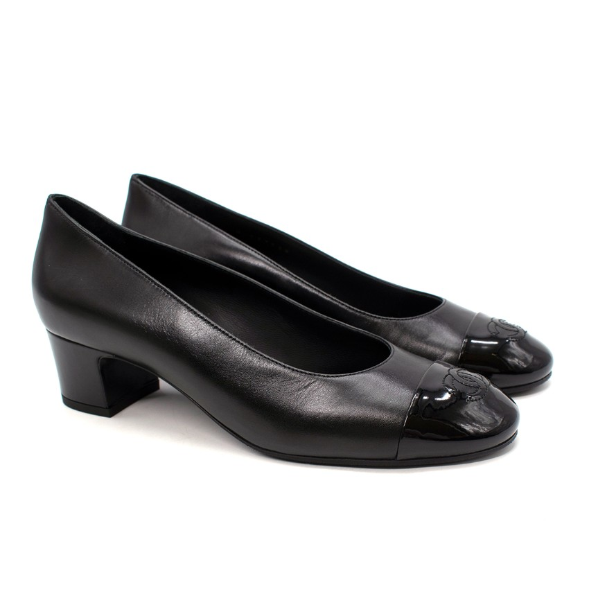 Chanel Black Leather Patent CC Cap-Toe Round Toe Block Heel Pumps