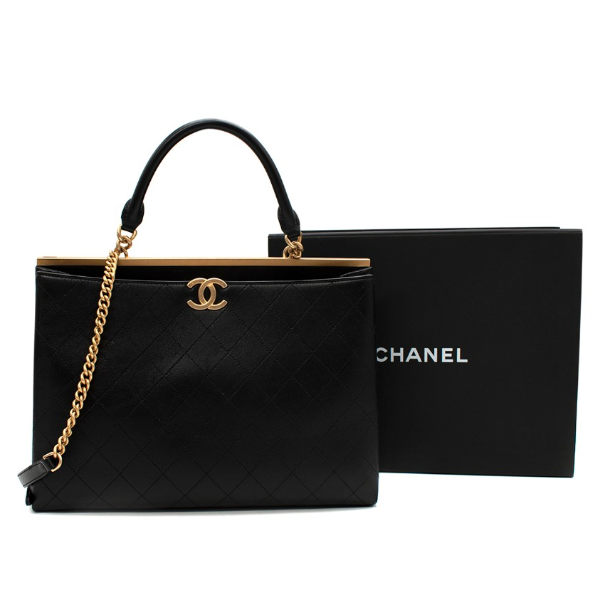 Chanel Black Stitch Quilted Lambskin Top Handle Shopper