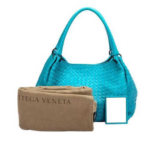 Bottega Veneta ITurquoise Blue ntrecciato Leather Handbag
