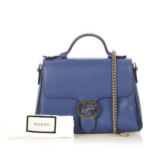 Gucci Blue Leather Interlocking G Satchel