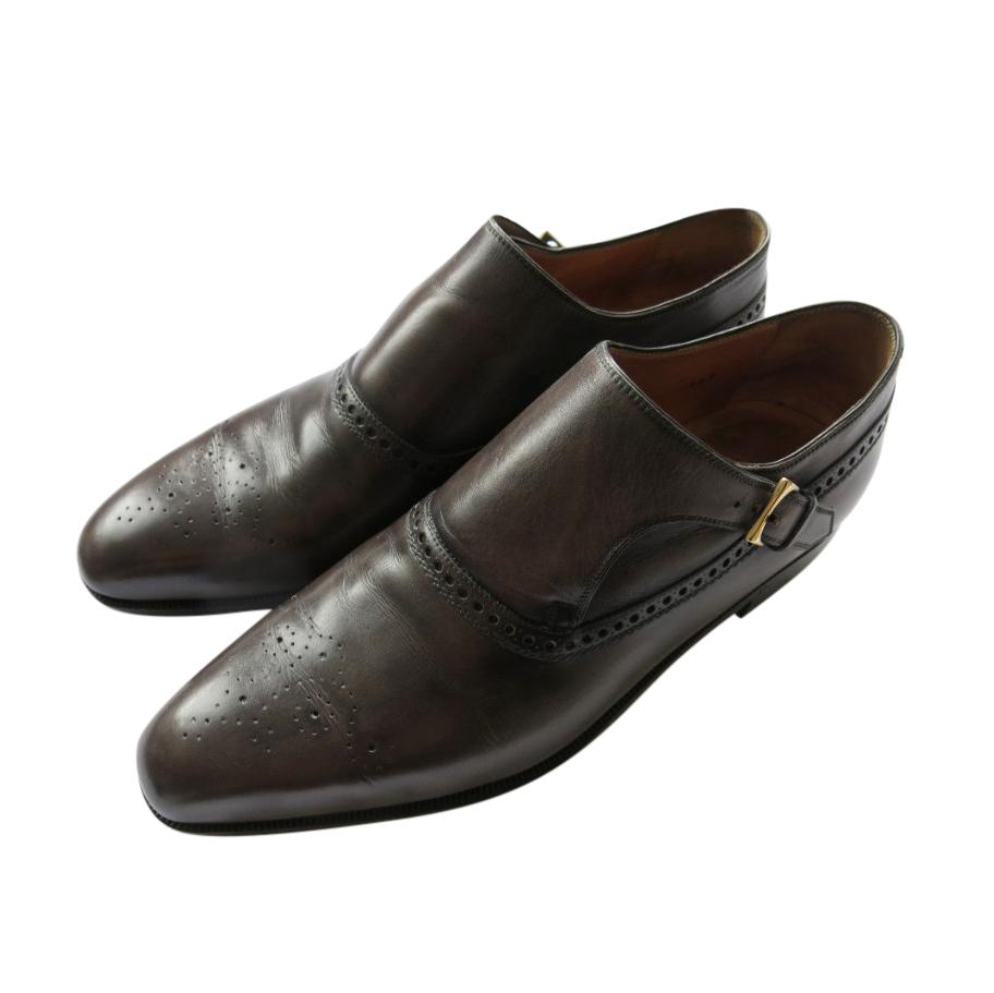 Berluti Black Monk Strap Grey Leather Brogues