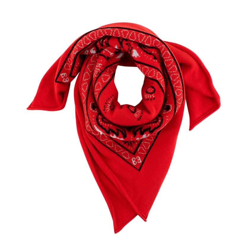Barrie Paisley Red Cashmere Blend Bandana Scarf