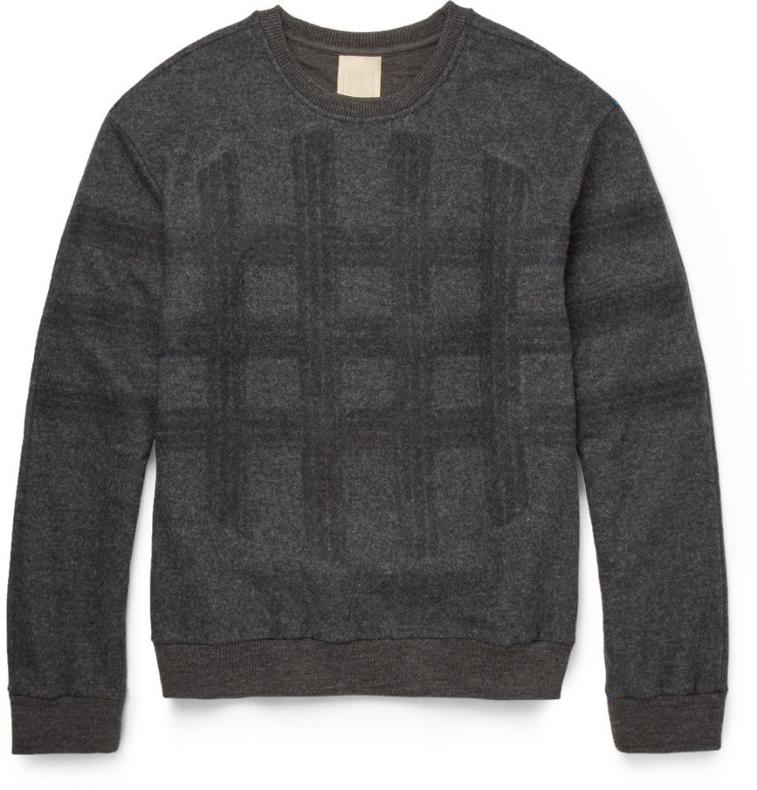 Wooyoungmi Grey Double Layer Wool Blend Check Jumper