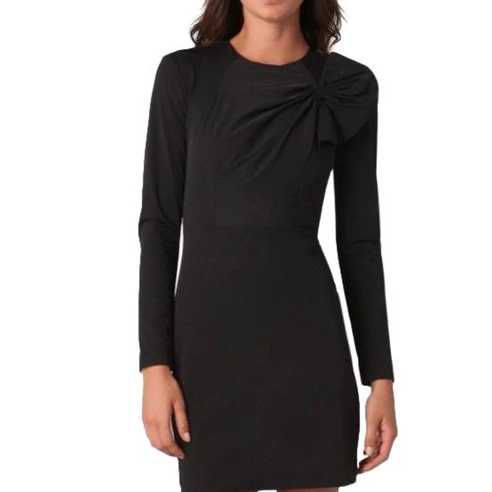 DVF Black Asymmetric Bow Detail Mini Dress