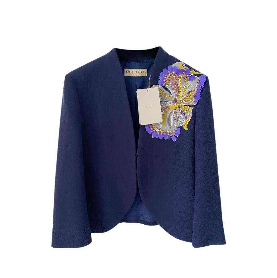 Emilio Pucci Blue Virgin Wool Embroidered Blazer