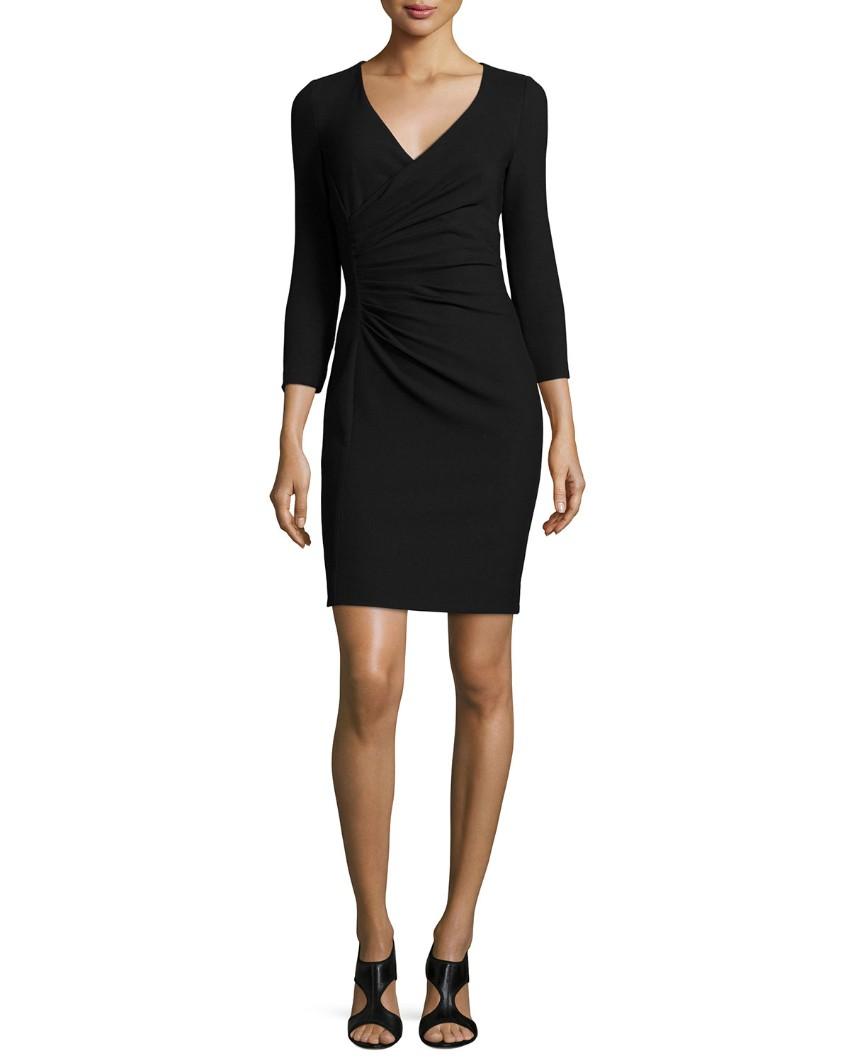 DVF Black Ruched Mini Dress