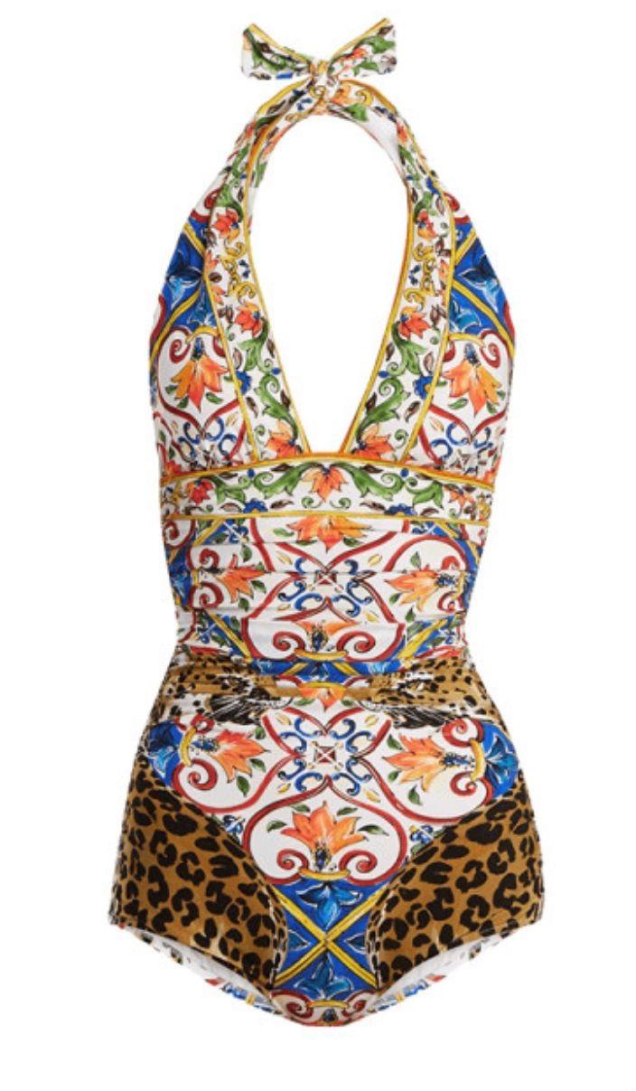 Dolce & Gabbana Leopard Majolica Print Halterneck Swimsuit