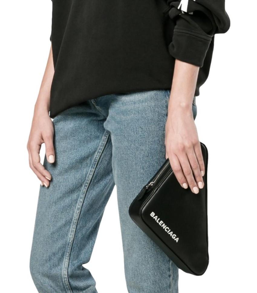 Balenciaga Logo Print Black Leather Triangle Clutch