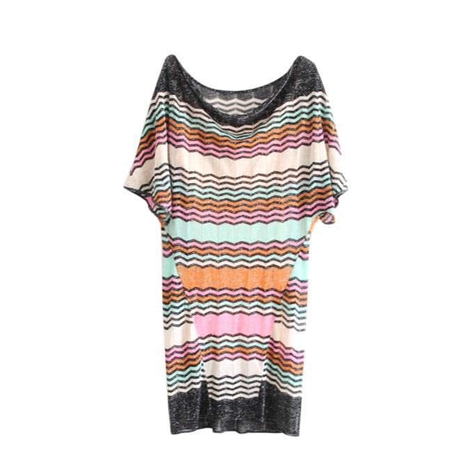 M Missoni Metallic Knit Zig Zag Dress