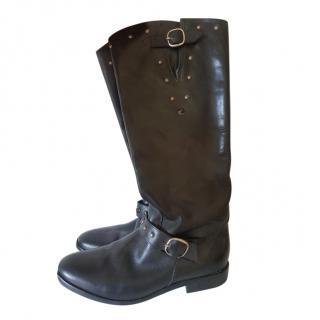 Golcen Goose handmade black leather western boots