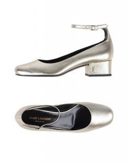Saint Laurent platinum silver leather ankle strap pumps