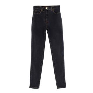 Versace Dark Denim Gold-tone Embellished Skinny Jeans