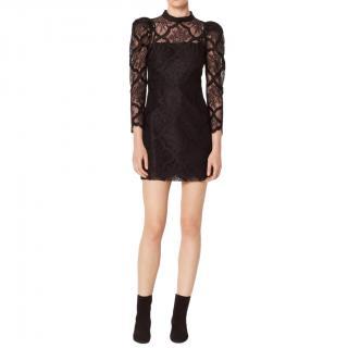 Sandro black floral Coeur Dress