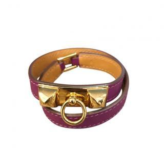 Hermes pink/purple Rivale double tour bracelet