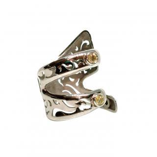 De Grisogono white gold openwork ring set with yellow diamonds