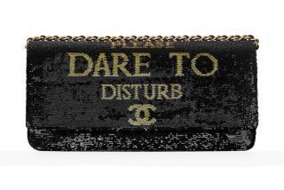 Chanel very rare 'Dare to Disturb' black sequin shoulder bag