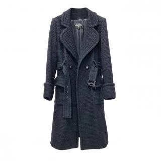 Chanel black belted tweed coat with CC buttons