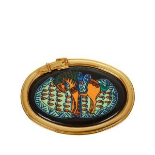 Hermes Oval Horse And Buckle Brooch