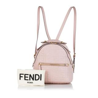 Fendi Light Pink Zucca By The Way Leather Backpack