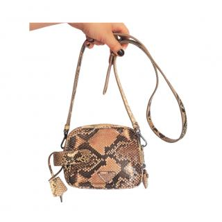 Prada python leather camera style shoulder/crossbody bag