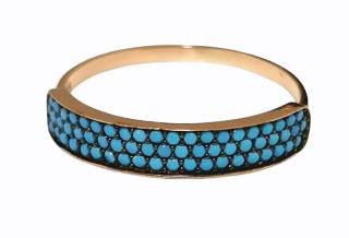Bespoke turquoise and yellow gold band