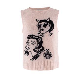 Prada SS18 Wool Pastel Pink & Black Graphic Intarsia Knitted Vest