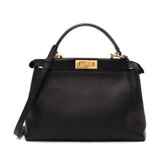 Fendi Peekaboo Medium Black Leather Top Handle/Crossbody Bag