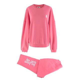Les Girls Les Boys Pink Cotton Sweatshirt & Track Trousers Set