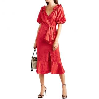 Saloni Red Olivia Wrap-effect Silk-satin Jacquard Midi Dress