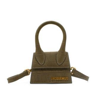 Jacquemus Khaki Suede Crocodile Print Mini Bag