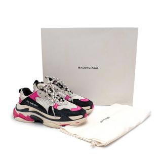 Balenciaga Triple S Black & Pink Mesh Leather Sneakers