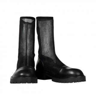 Ann Demeulemeester black leather and stretch mesh boots