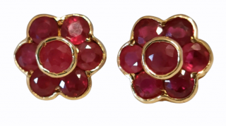 Charles Lister & Sons Ruby Cluster Earrings