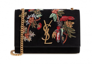 Saint Laurent Embroidered Kate Monogram suede and leather black bag